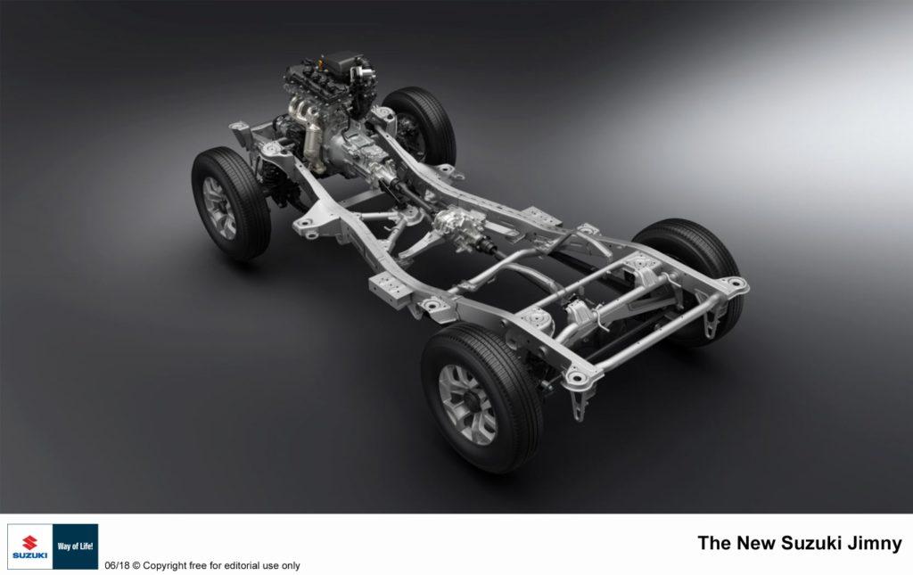 Žebřinový rám tvoří podvozek i této generace Suzuki Jimny, foto: Suzuki