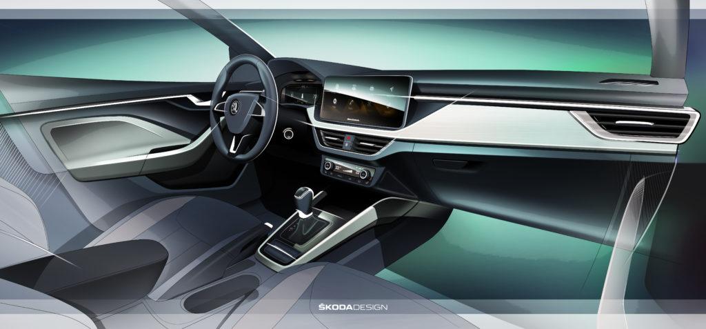 První skica interiéru nového hatchbacku Škoda Scala, foto: Škoda auto